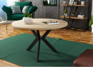 Stolik kawowy MATEO 75cm okrągły w stylu loft Dąb Sonoma / Czarny PM