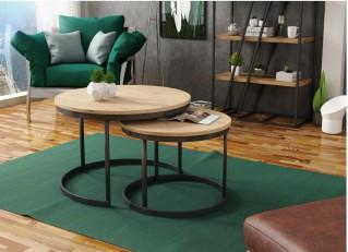 Stolik kawowy 2w1 okrągły industrialny w stylu loft zestaw RABEN PM