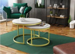 Stolik kawowy 2w1 okrągły industrialny w stylu loft zestaw RABEN złoty PM