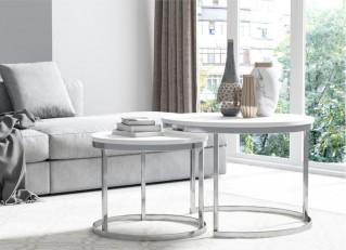 Stolik kawowy 2w1 okrągły w stylu loft srebrne nogi RABEN PM
