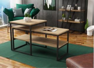 Stolik kawowy 2w1 z półką w stylu loft TONY II PM