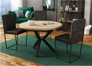 Stół okrągły rozkładany 100-140cm w stylu loft do salonu AGNES PM