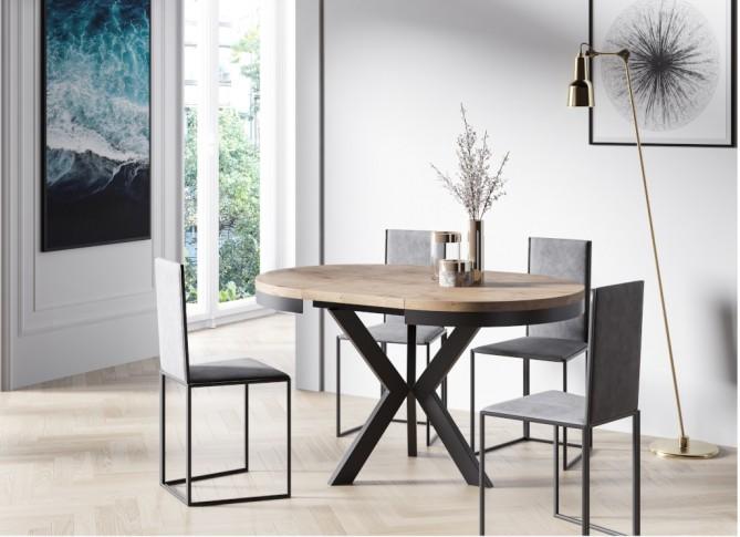 Stół okrągły rozkładany 100-140cm do salonu w stylu loft  ELVE PM