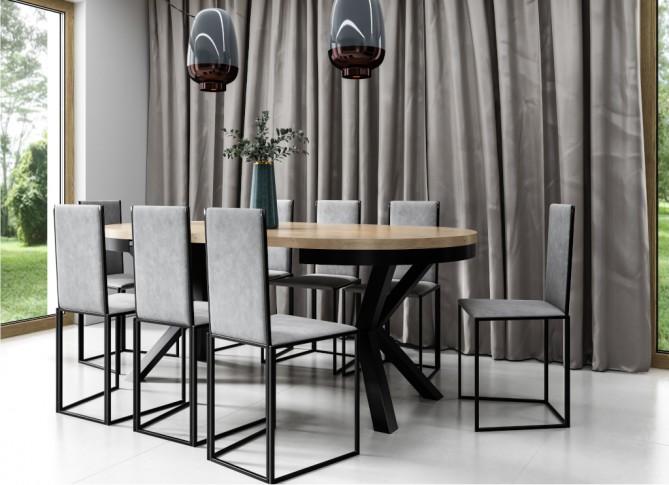 Stół rozkładany 100-180cm okrągły na metalowych nogach loft NARVIK PM