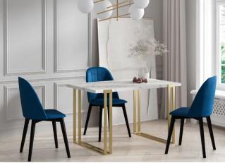 Duży stół rozkładany HORTEN złoty/srebrny w stylu Glamour 160-260cm PM